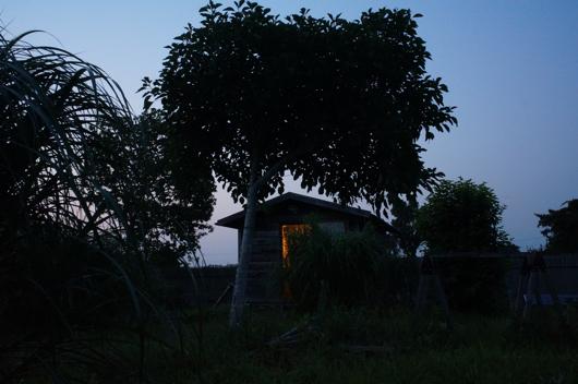 房総フィールド 夕暮れの小屋