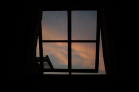 小屋からの夕陽