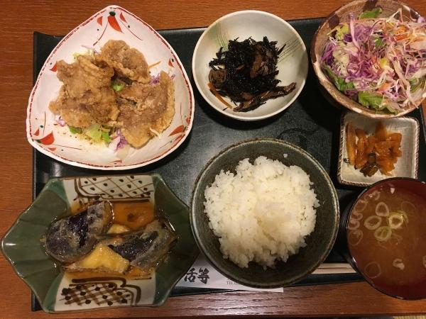 2017-08-29 かつらダブル_ナスのひき肉はさみ揚げ、豚から揚げ