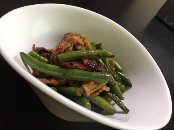 0614インゲンと豚肉の炒め物