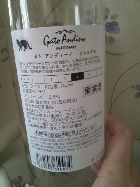 Gato Andino CHARDONNAY(ガト アンディーノ シャルドネ)