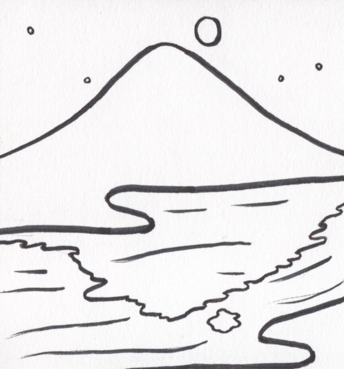 山と川と月