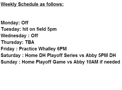 weekly schedule