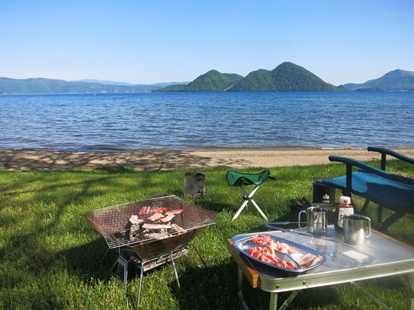 洞爺湖 曙公園 炭火で焼肉