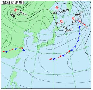5月8日(月)15時の実況天気図