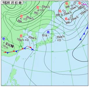 5月9日(火)6時の実況天気図
