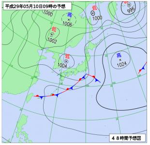5月10日(水)9時の予想天気図