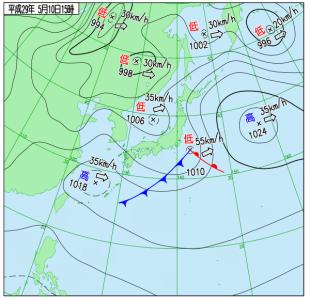 5月10日(水)15時の実況天気図