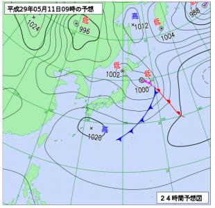 5月11日(木)9時の予想天気図
