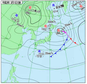 5月11日(木)15時の実況天気図