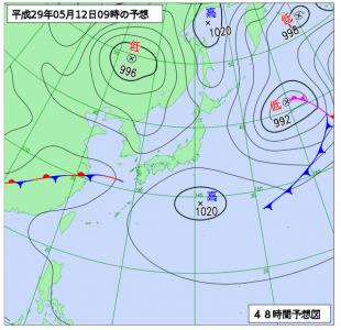5月12日(金)9時の予想天気図