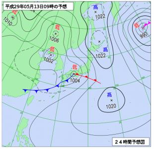 5月13日(土)9時の予想天気図