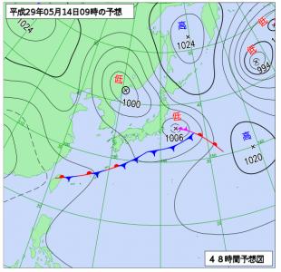 5月14日(日)9時の予想天気図