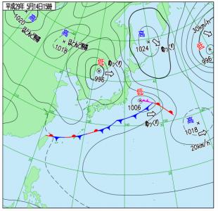 4月15日(日)15時の実況天気図