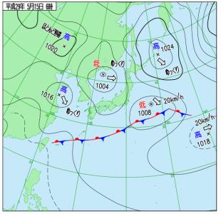 5月15日(月)6時の実況天気図