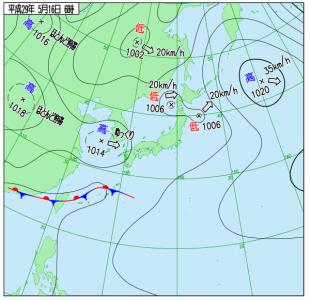 5月16日(火)6時の実況天気図