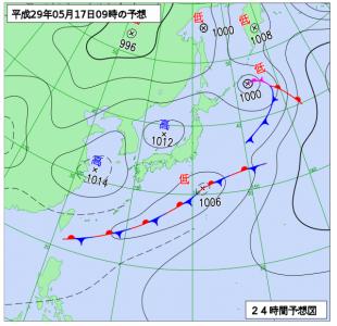 5月17日(水)9時の予想天気図