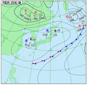 5月18日(木)6時の実況天気図