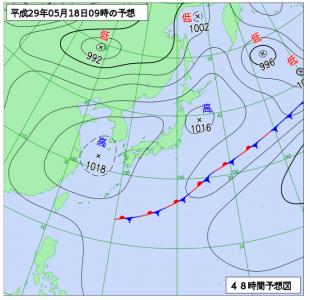 5月18日(木)9時の予想天気図
