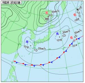 5月19日(金)15時の実況天気図