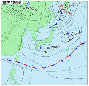 5月20日(土)6時の実況天気図