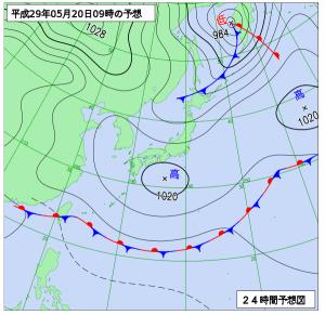 5月20日(土)9時の予想天気図