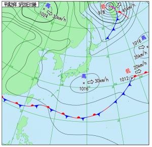 5月20日(土)15時の実況天気図