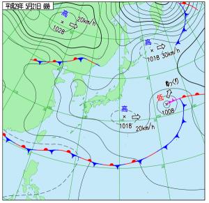 5月21日(日)6時の実況天気図