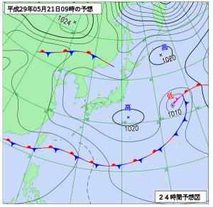 5月21日(日)9時の予想天気図