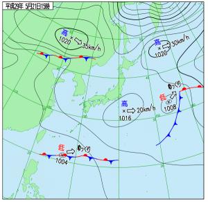 5月21日(日)15時の実況天気図