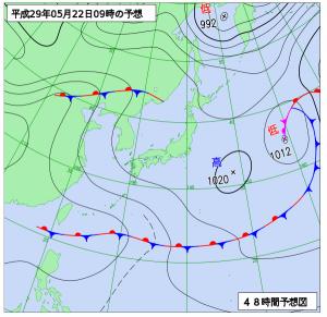 5月22日(月)9時の予想天気図