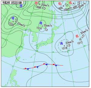 5月22日(月)15時の実況天気図