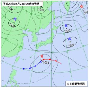 5月23日(火)9時の予想天気図
