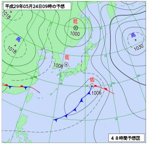 5月24日(水)9時の予想天気図