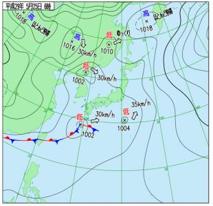 5月25日(木)6時の実況天気図
