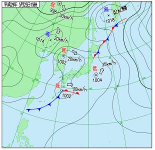 5月25日(木)15時の実況天気図