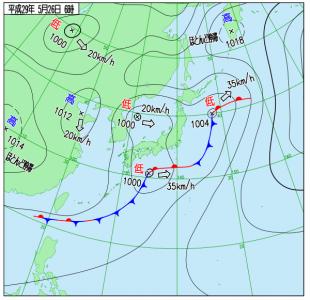 5月26日(金)6時の実況天気図