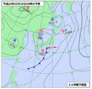 5月26日(金)9時の予想天気図
