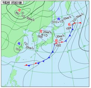 5月26日(金)15時の実況天気図