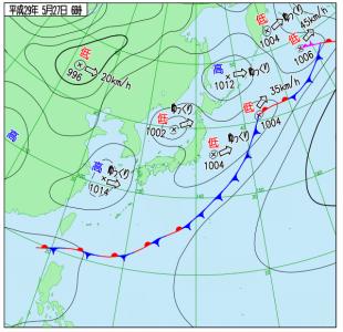 5月27日(土)6時の実況天気図