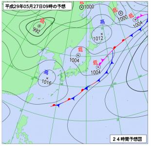 5月27日(土)9時の予想天気図