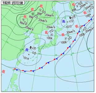 5月27日(土)15時の実況天気図
