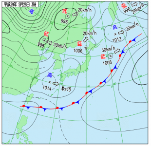 5月28日(日)3時の実況天気図