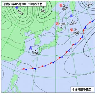 5月28日(日)9時の予想天気図