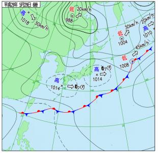 5月29日(月)6時の実況天気図