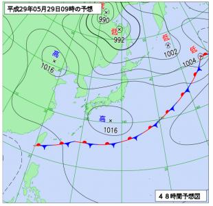 5月29日(月)9時の予想天気図