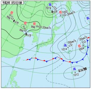 5月31日(水)15時の実況天気図