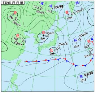 6月1日(木)6時の実況天気図