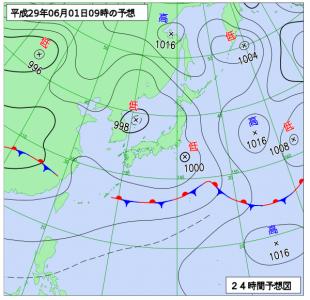 6月1日(木9時の予想天気図