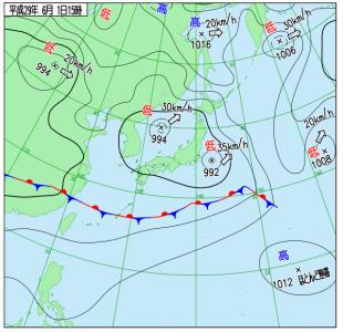 6月1日(木)15時の実況天気図